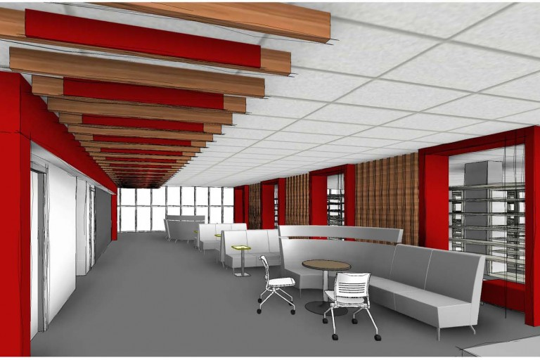 An artist's rendering of library renovations.