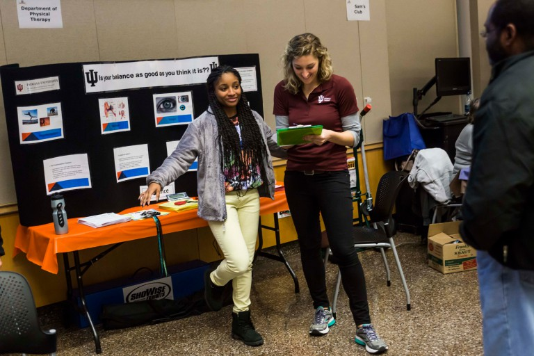 A student enjoys a day at the Health and Benefits Fair.