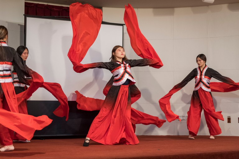 Students perform at the Lunar New Year event.