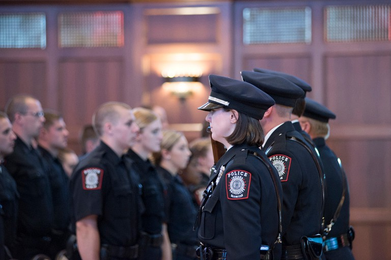 IUPD Color Guard faces the 44th class of the IU Police Academy during the graduation ceremony