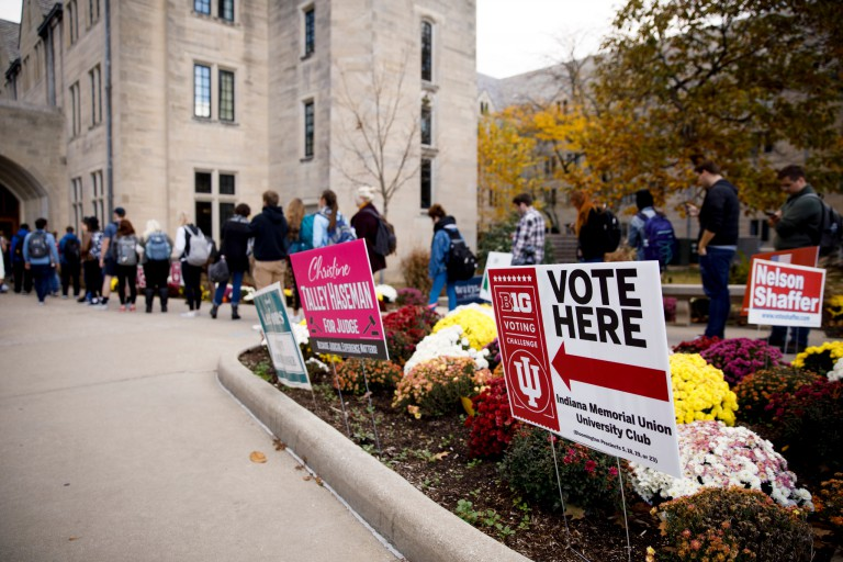Students wait in line at the IMU to vote in the 2018 midterm election
