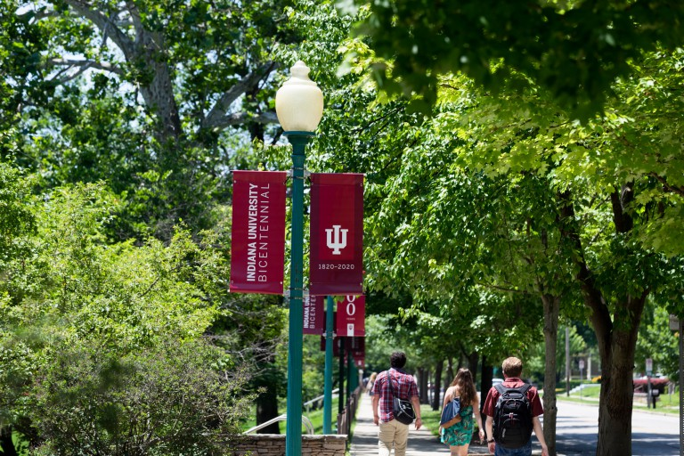Bicentennial banners on the Bloomington campus