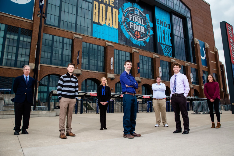 Members of the Sports Capital Journalism Program outside Lucas Oil Stadium