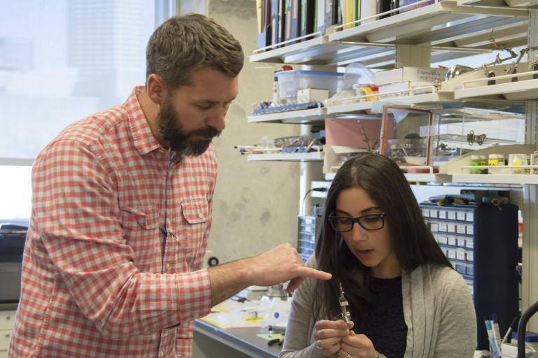 Christopher Lapish and Sarine Janetsian, former graduate student, in the Lapish lab.