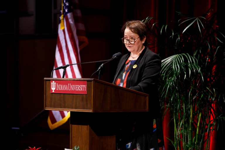 IU Bloomington Provost Lauren Robel delivers the 2018 State of the Campus address.