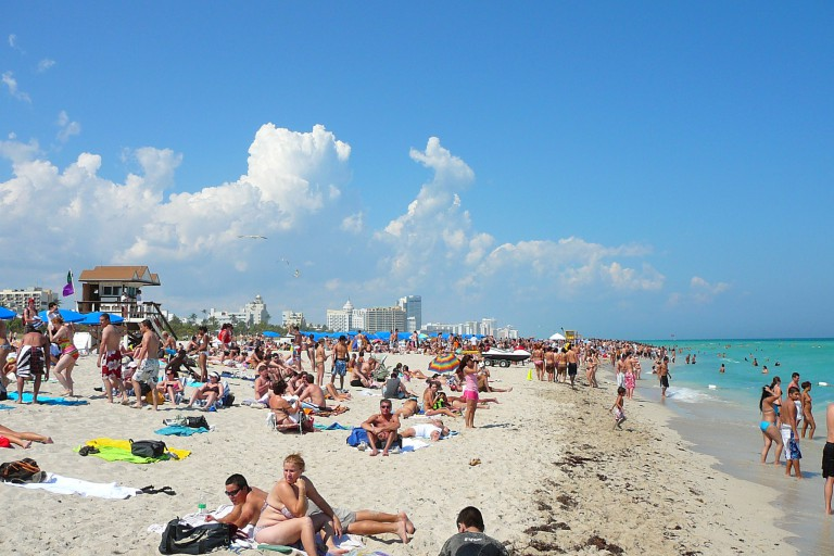 Sunbathers on a beach