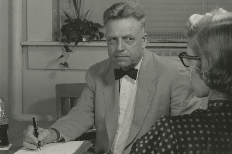 An archival photo of noted researcher Alfred Kinsey.