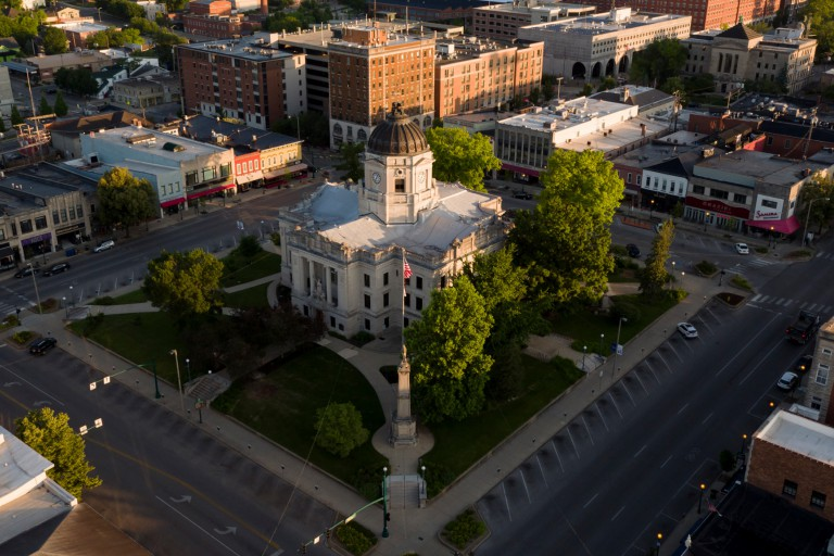 The courthouse square in Bloomington