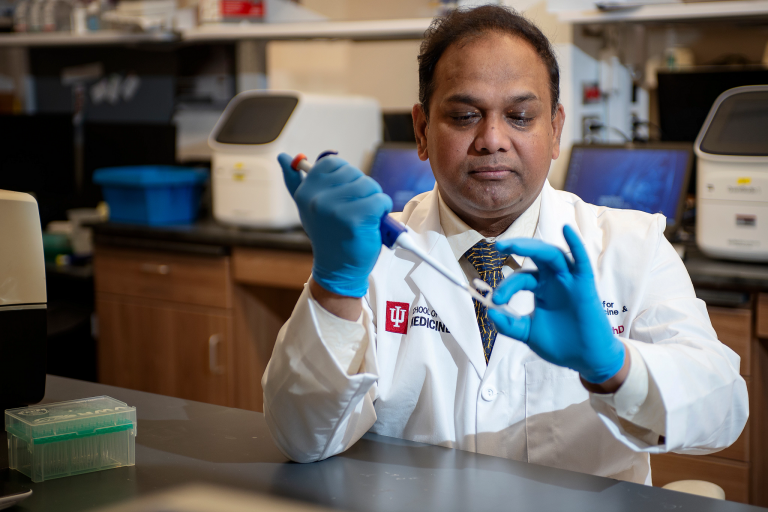 Chandan Sen works in his research lab at the IU School of Medicine
