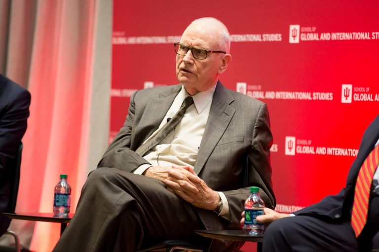 Lee Hamilton speaks on a panel at the America's Role in the World conference