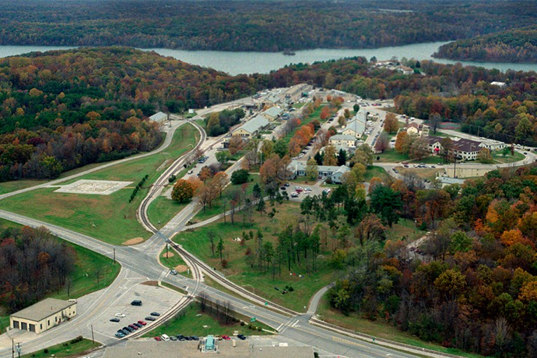 Aerial view of Crane, Indiana
