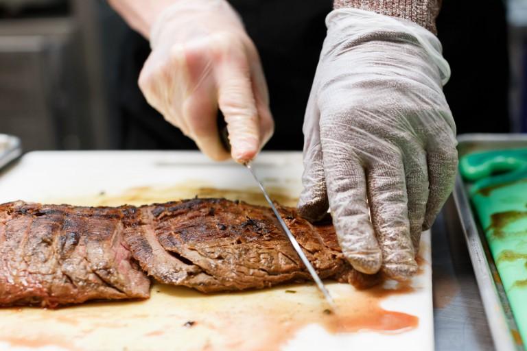 Steak gets sliced