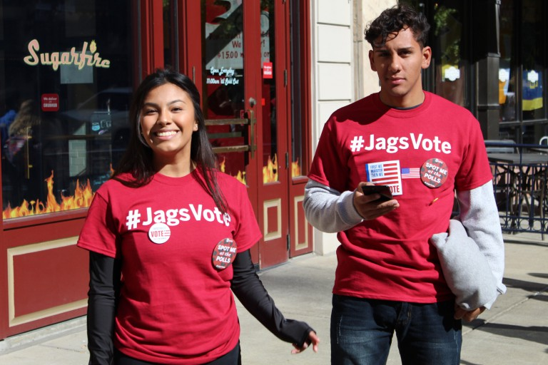 IUPUI students march to the polls to vote in the last election.