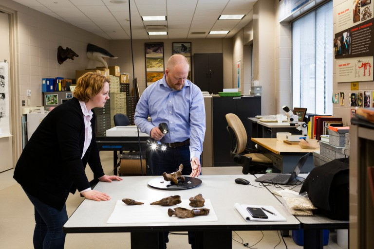 Both Polly Sturgeon and Gary Motz are 3D scanning the Megalyonx jeffersoni skeleton