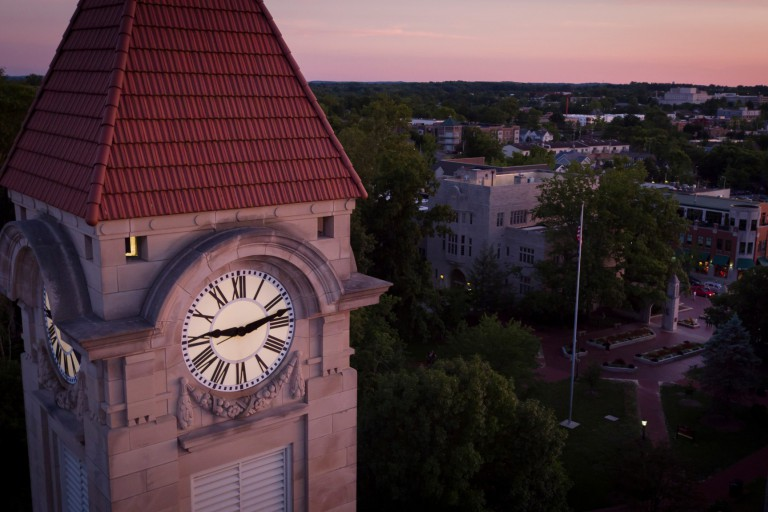 An aerial view of the IU Bloomington student building clock tower