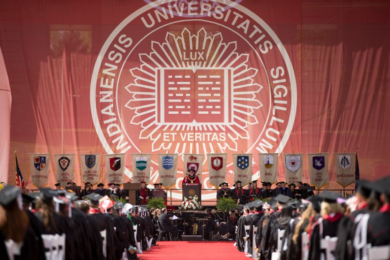 President Michael McRobbie presiding over IU Bloomington's 2016 undergraduate commencement ceremony