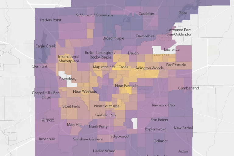 Indianapolis map of COVID-19 neighborhood risk