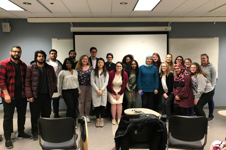 IUPUI students with Moroccan professor