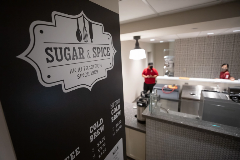 the Sugar and Spice sign in the IMU on the Bloomington campus