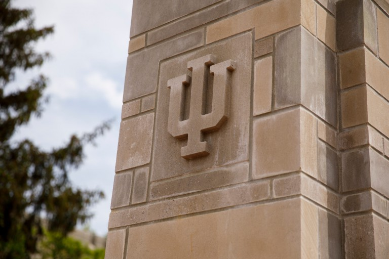 An image of the IU trident on a wall