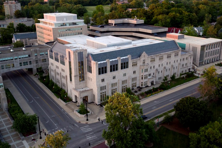 Aerial image of Hodge Hall.