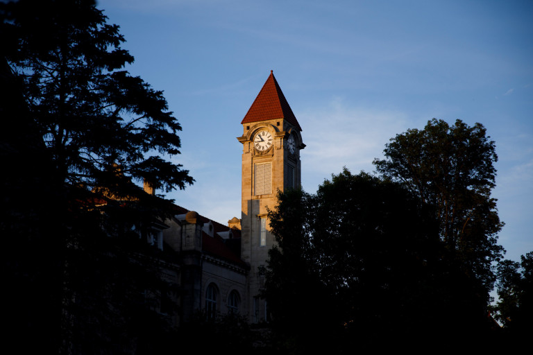 Frances Morgan Swain Student Building clocktower at IU Bloomington