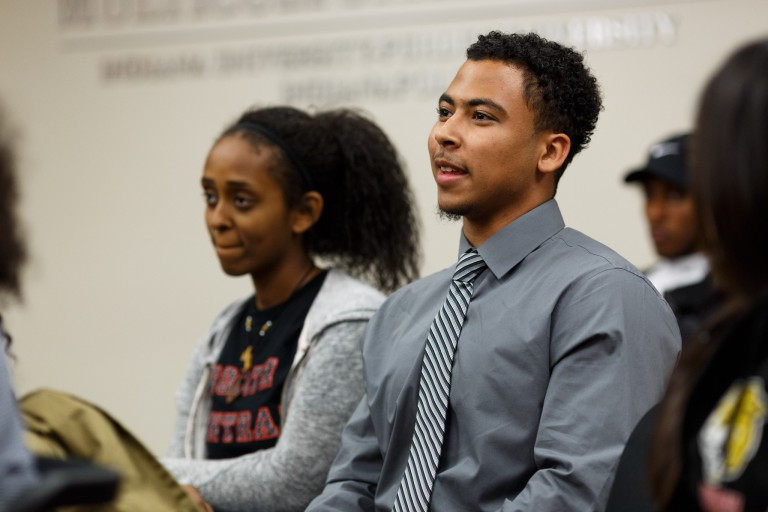 Students attend the Diversity Speaker's Series.