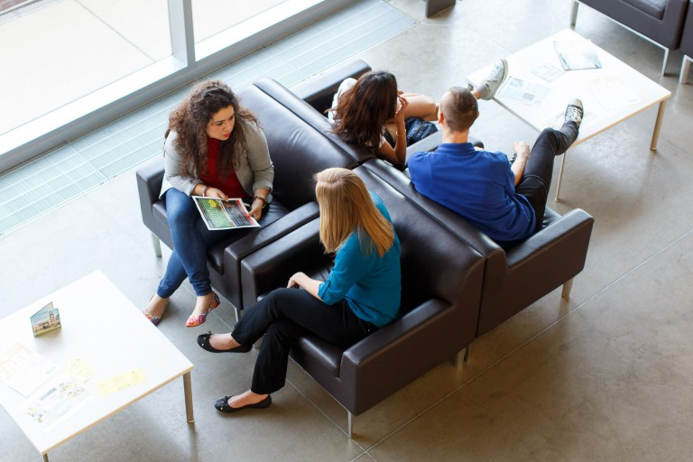 Students interact with each other at IUPUC.