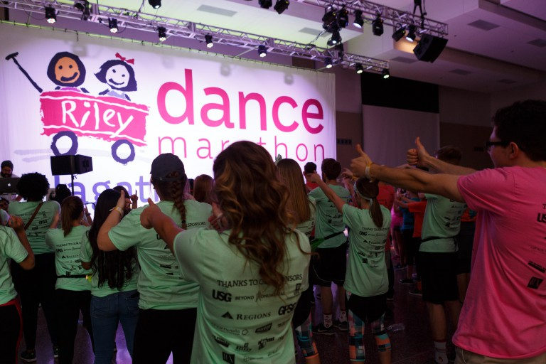 IUPUI's Jagathon dance marathon raised a record $351,000 to benefit the Riley Hospital for Children.