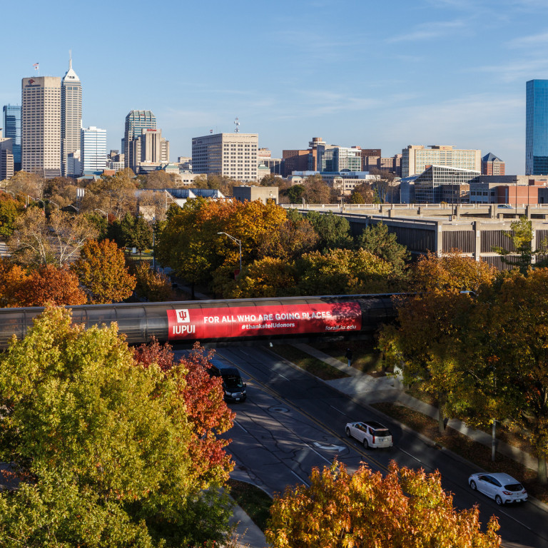 A high view of the Indianapolis skyline and IUPUI campus