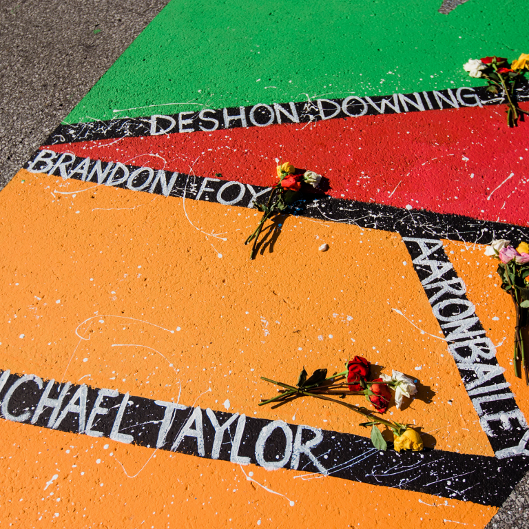 names of victims of police brutality on the Black Lives Matter street art