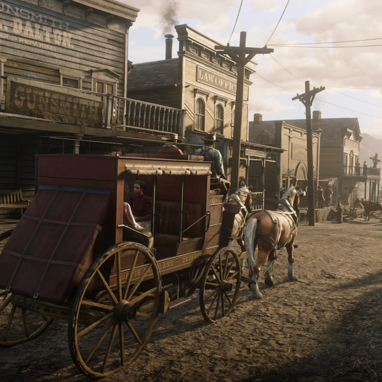 a vintage Western town with wagons and old storefronts