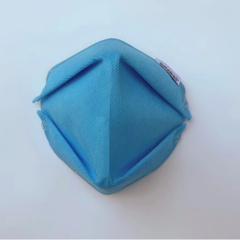 The front view of a blue Oricool face mask