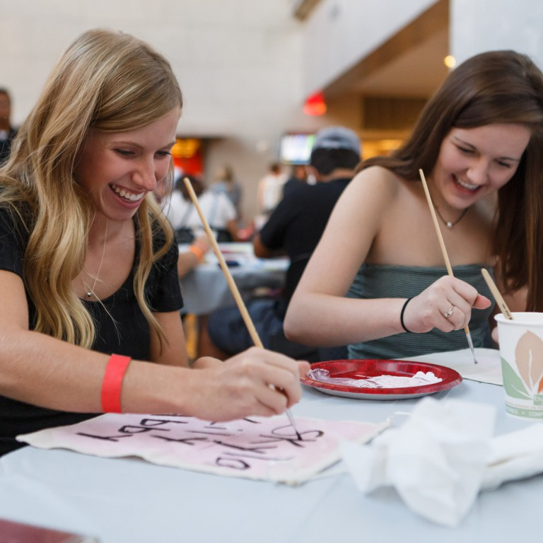 Students create crafts during SAPB First Night in the IUPUI Campus Center.