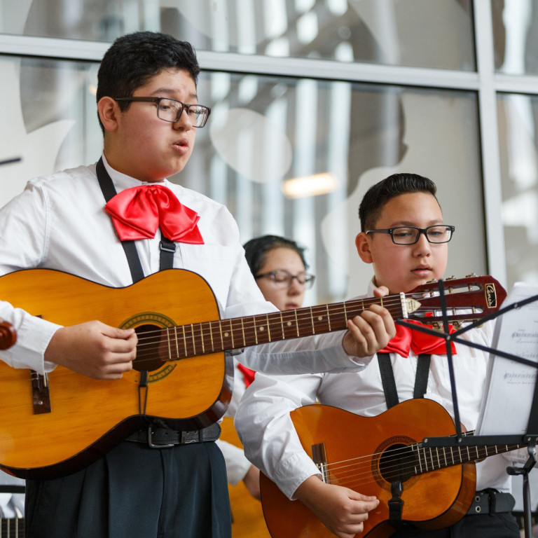 Students from Fall Creek Valley Middle School perform mariachi music.