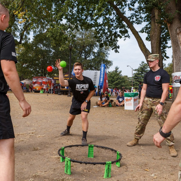 IUPUI's Army ROTC hosts and participates in a ring toss during the festival.