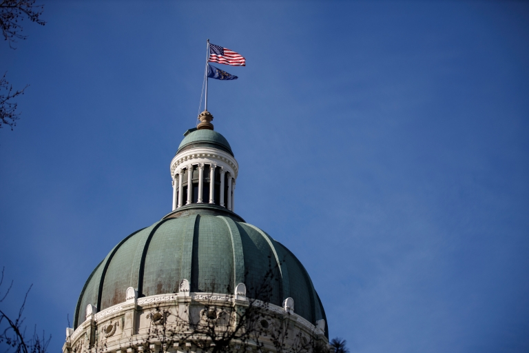 The dome at the top of the Indiana Statehouse
