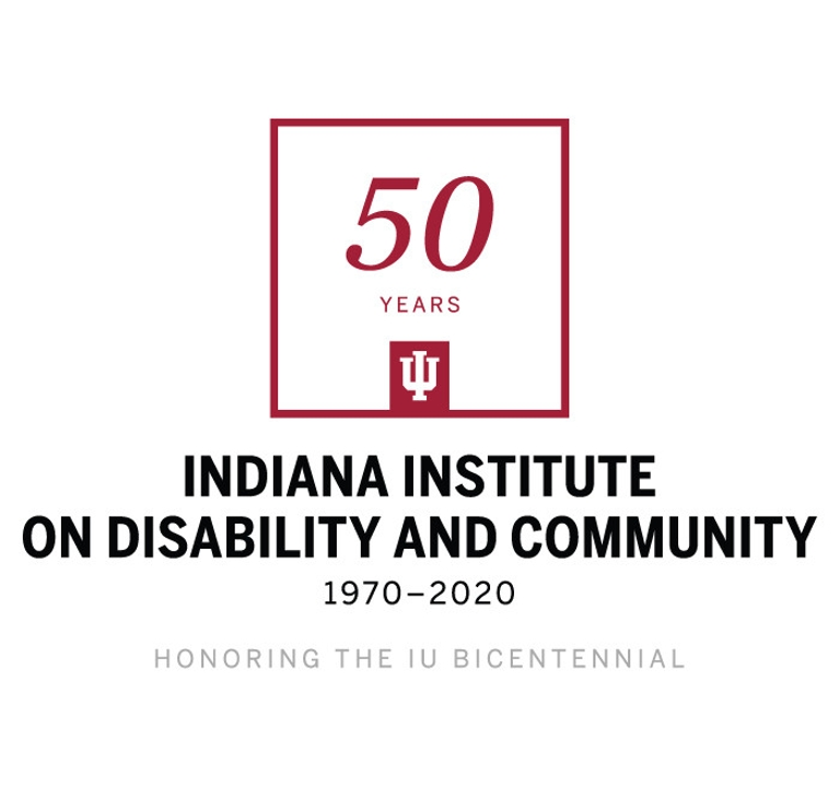 Logo for the Indiana Institute on Disability and Community marking its 50th anniversary