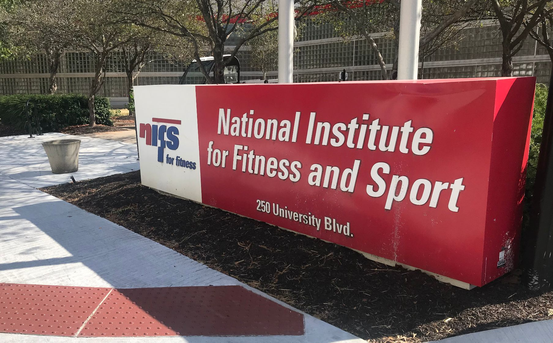 The sign outside the National Institute for Fitness and Sport.