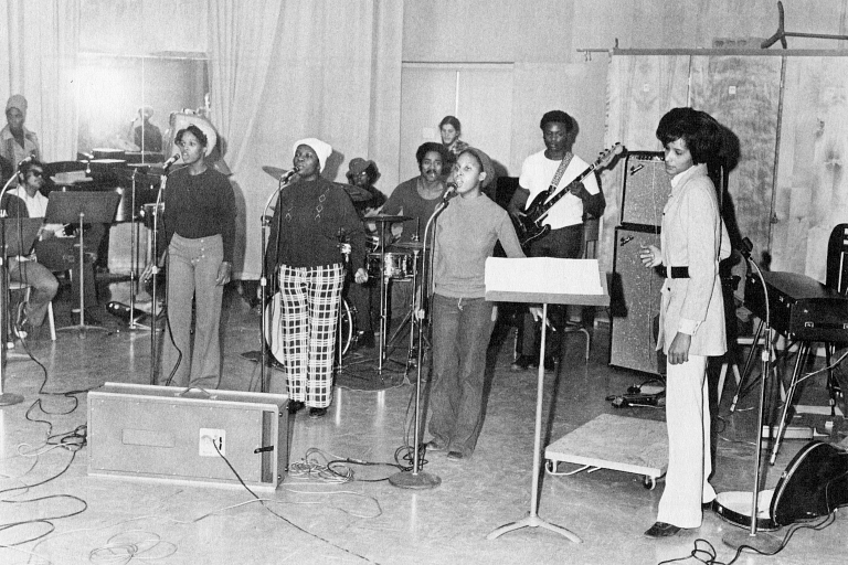Members of the IU Soul Revue rehearse in 1971