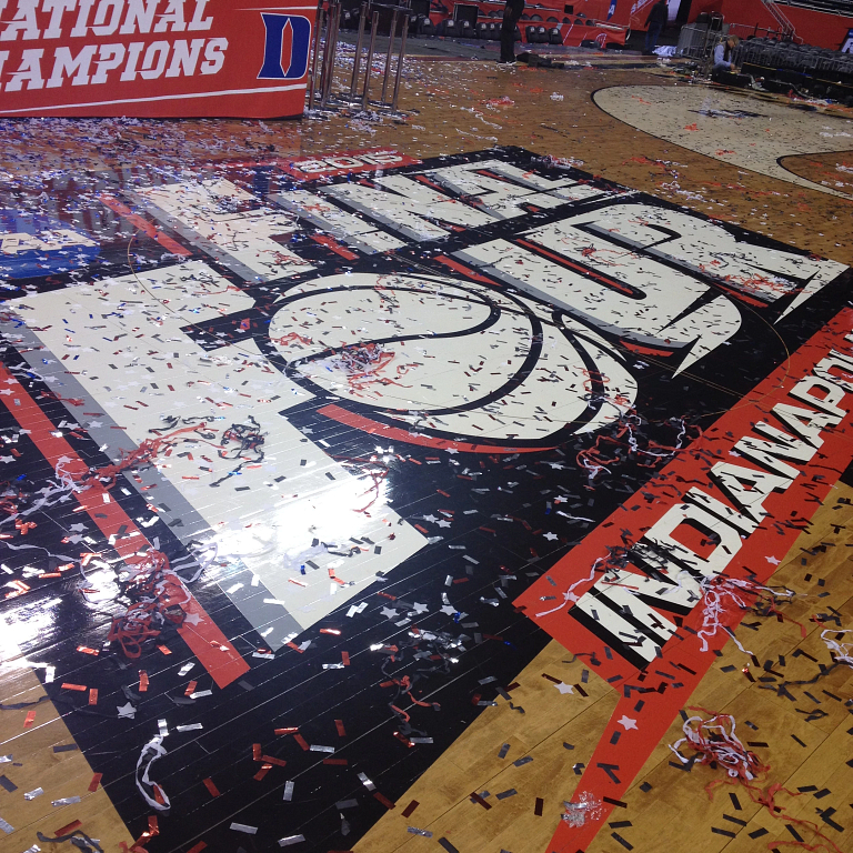 a center court final four logo covered in confetti