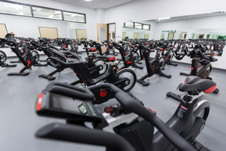 Bikes sit in the group exercise room in the Fitness Center.