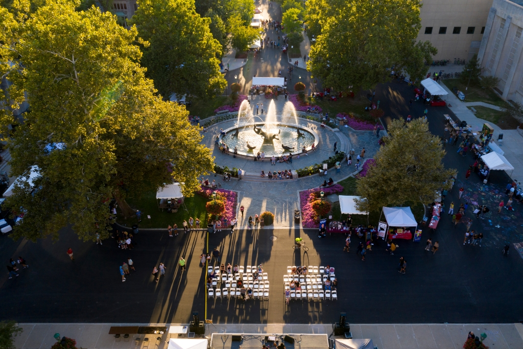 aerial view of festival
