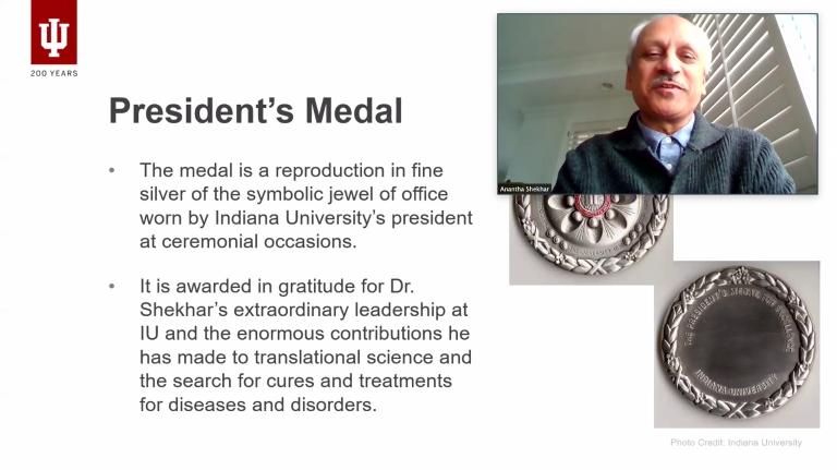 Shekhar is pictured on screen, along with a description of the President's Medal.