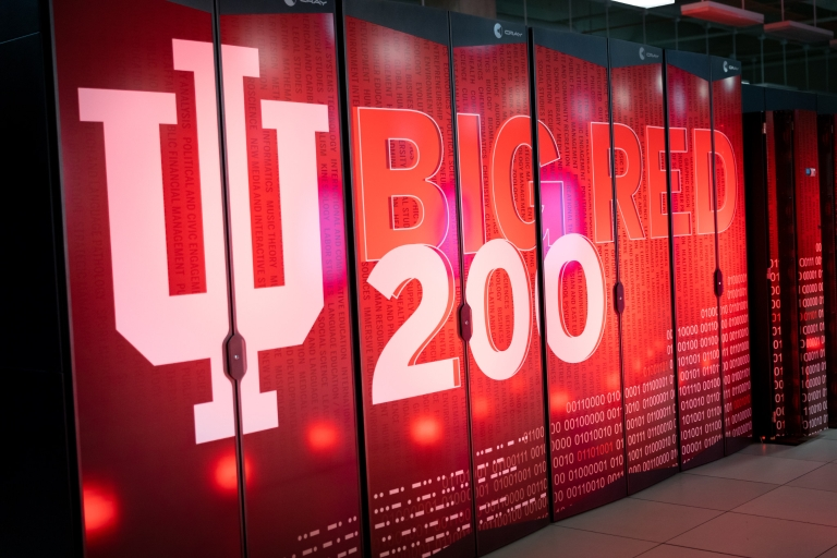Big Red 200 is spelled out on paneling of IU's newest supercomputer