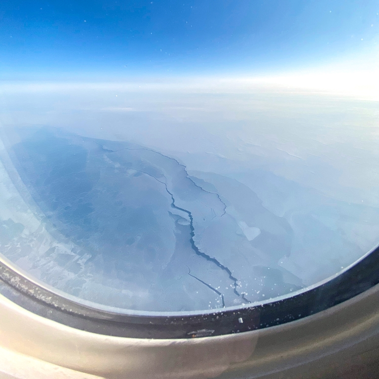 a view of the North Pole from an airplane seat