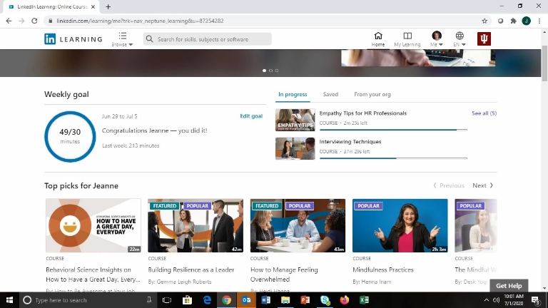 An screenshot of a LinkedIn Learning page