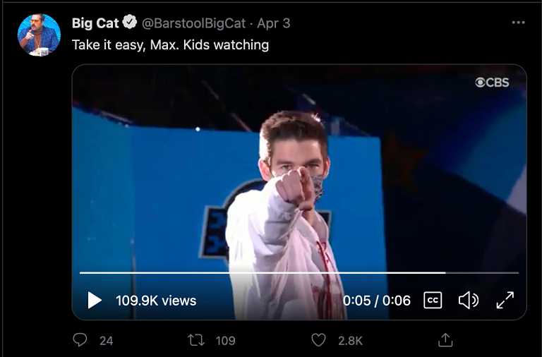 """a screenshot of a tweet that says """"Take it easy Max, kids are watching"""""""