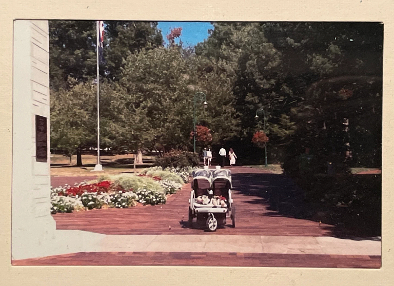 A double stroller sits in between the Sample Gates at IU