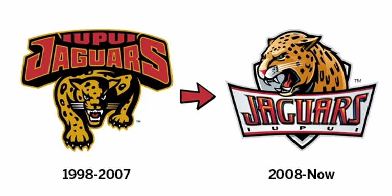 IUPUI's first logo that says 1999 to 2007 next to the current logo